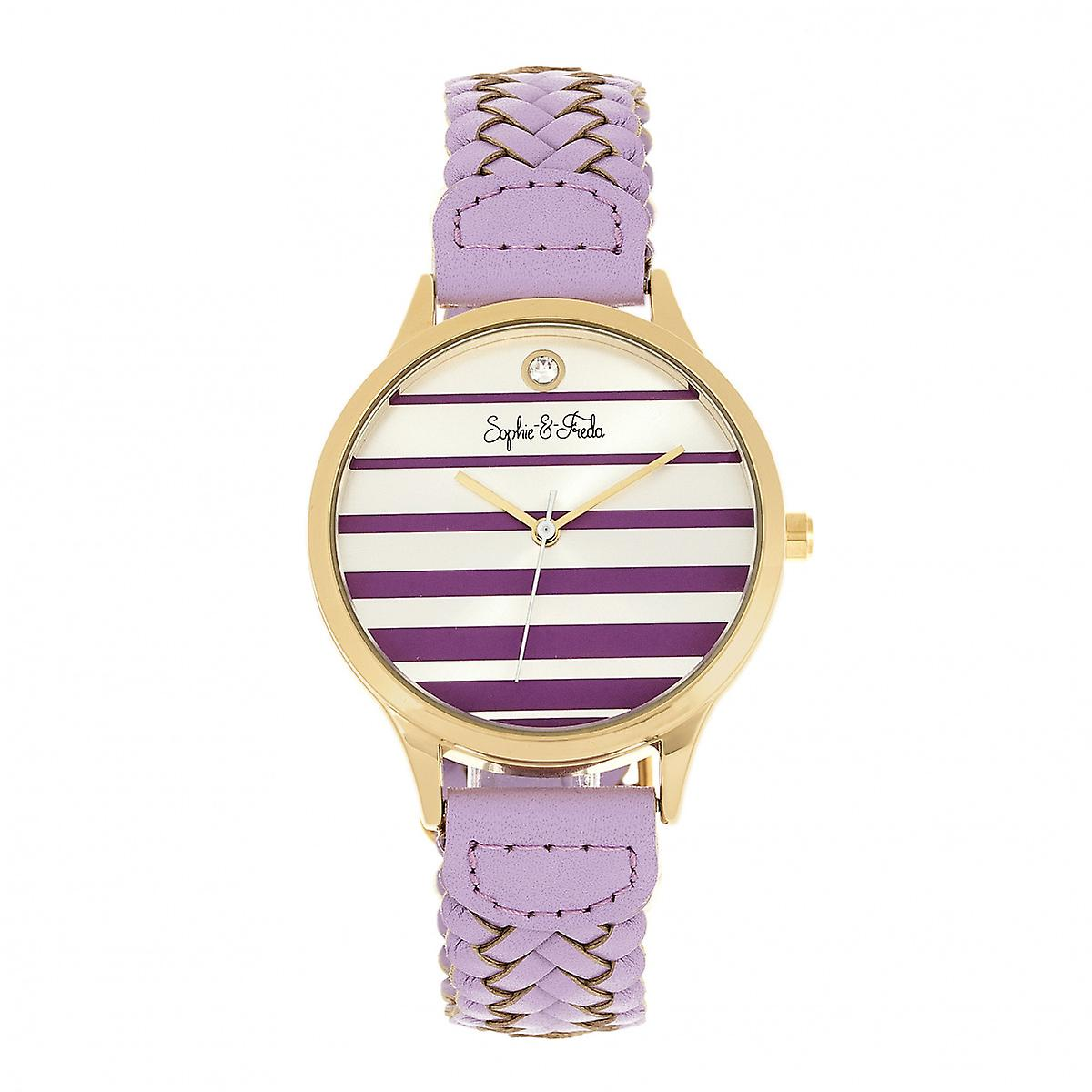 Sophie & Freda Tucson Leather-Band Watch w/Swarovski Crystals - Gold/Lavender