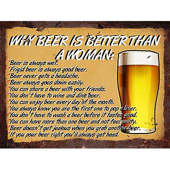 Vintage Metal Wall Sign, Why Beer Is Better Than A Woman