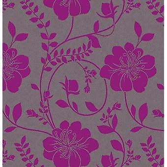Tapetą z motywem kwiatowym kwiat Twilight szary Metaliczny fioletowy wklej Arthouse ściany