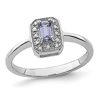 3/10 Carat (ctw) Emerald Cut Tanzanite Solitaire Ring in Sterling Silver