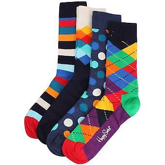 Happy Socks Mixed Pattern 4 Pack Gift Box Socks - Multi-colour