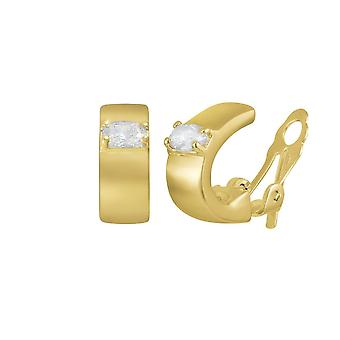 Eternal Collection Albany Crystal High Gloss Gold Tone Half Hoop Stud Clip On Earrings