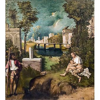 La Tempête, Giorgione, 50x45cm