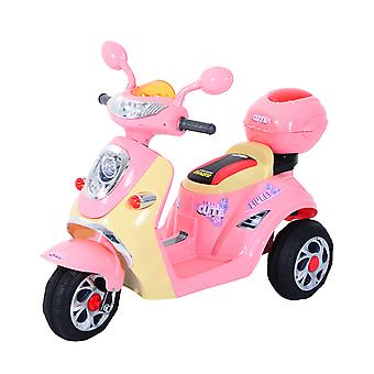 HOMCOM Kids Electric Ride On Toy Car Kids Motorbike Children Tricycle w/6V Chargeable Battery Headlight and Music (Pink)