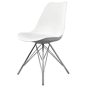 Fusion Living Eiffel Inspired White Plastic Dining Chair With Chrome Metal Legs