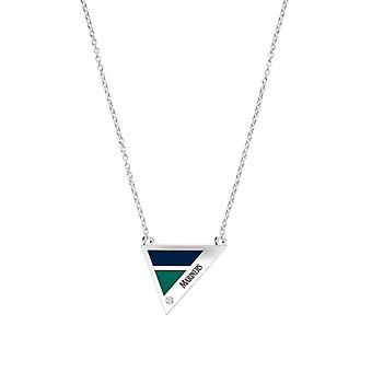 Seattle Mariners Engraved Sterling Silver Diamond Geometric Necklace In Blue & Blue Green