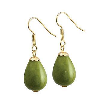 Éternelle Collection Fontana Olive vert Jade couleur or Drop boucles d'oreilles