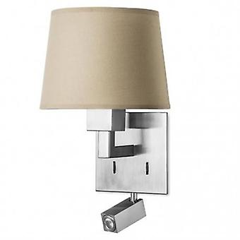Led 2 Light Indoor Wall Light Satin Nickel With Reading Lamp