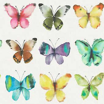 Rasch Butterfly patroon water gekleurd canvas motief metallic behang 273601