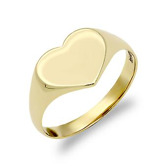 Jewelco Londen dames Solid 9ct Yellow Gold Love hart Signet ring