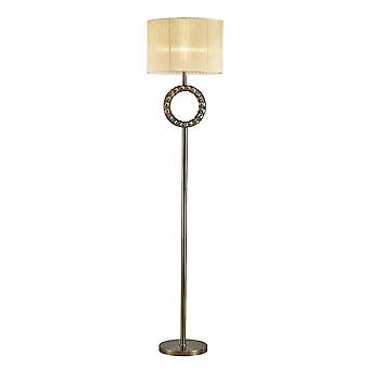 Diyas Florence Round Floor Lamp With Cream Shade 1 Light Antique Brass/Crystal