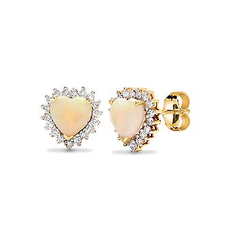 Jewelco London 18ct Yellow Gold Cluster Set Round G SI 0.29ct Diamond and Heart Opal Love Heart Halo Stud Earrings