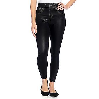 Slim 'N Lift Caresse Faux Leather Jean-Printed Leggings Black S420430