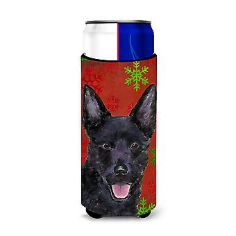 Australian Kelpie Red Green Snowflakes Christmas Ultra Beverage Insulators for s