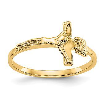 14k Gul Gold Solid Open tilbage Ikke indgraverbar for drenge eller piger poleret krucifiks Ring Størrelse 4,25