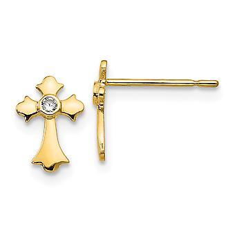 14kイエローゴールドマディK CZキュービックジルコニアシミュレートダイヤモンド男の子や女の子宗教信仰クロスポストイヤリング