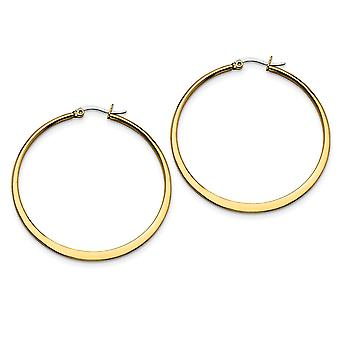 Invix Steel Oro lampeggiante lucido incernierato post giallo IP placcato tapered 50mm Hoop Orecchini regali gioielli per le donne