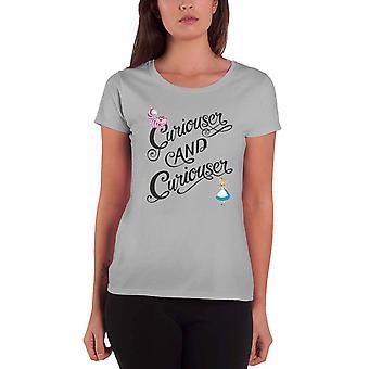 Alice im Wunderland T Shirt Neugieriger & neugieriger offizielle Disney Womens grau