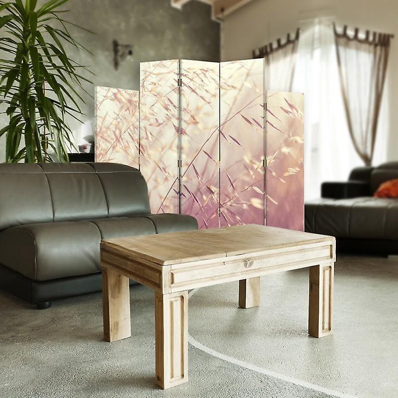 Diviseur de pièce décoratif, 5 panneaux, toile, lames florissantes de l'herbe 2