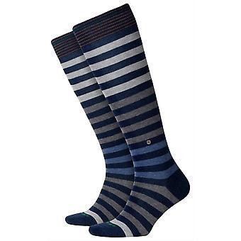 Burlington Blackpool gestreepte knie hoge sokken-donkerblauw/grijs