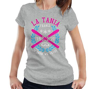 La Tania Frankrijk ' 19 ' 20 skiën Crest vrouwen ' s T-shirt