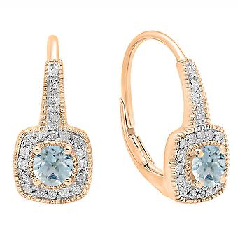 Dazzlingrock Collection 10K 4 MM Round Aquamarine & White Diamond Ladies Halo Style Dangling Earrings, Rose Gold
