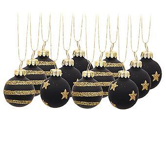 12 Premium 3cm Mini Glass Stars or Stripes Christmas Tree Bauble Ornaments