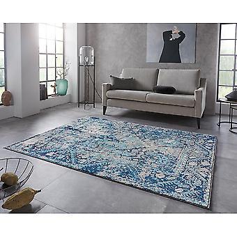 Oriental Design Short Floral Rug Chelozai Sky Blue