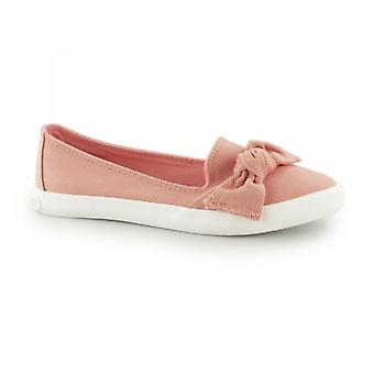 Rocket Dog Clarita-denim Ladies Slip On Bow Flat Shoes Peach