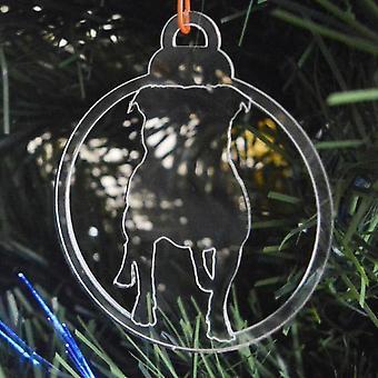 Hund TAND klar Acryl Weihnachten Dekorationen 6pk - Bulldog