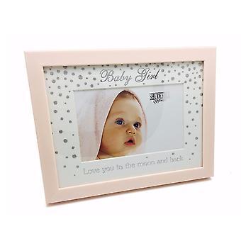 Shudehill Giftware Wooden Glitter Pink Baby Girl 6 X 4 Photo Frame
