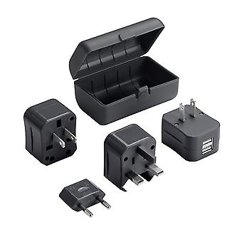 Lewis N. Clark Global Adapter Plug Set, 2.1a Dual USB Charger, Black #EK135BLK