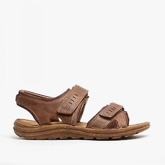 Josef Seibel Raul 19 Mens Leather Touch Fasten Sandals Chestnut