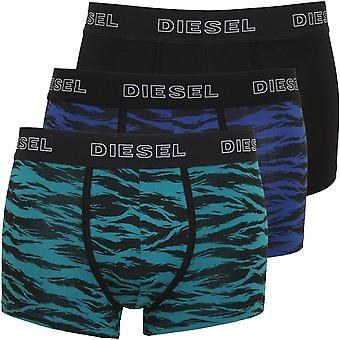 Diesel 3-Pack Tiger Stripe Boxer Trunks, Black W/blue/green