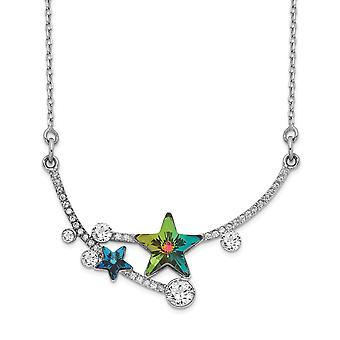 925 Sterling Silver Rhodium plated Multi color Crystal Star With 2inch Ext Necklace 15.5 Inch Jewelry Gifts for Women