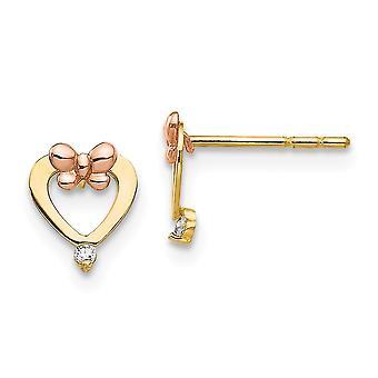 14k amarillo y oro rosa pulido CZ Zirconia cúbico zirconia diamante simulado corazón amor post pendientes mide 8x6mm de ancho joya