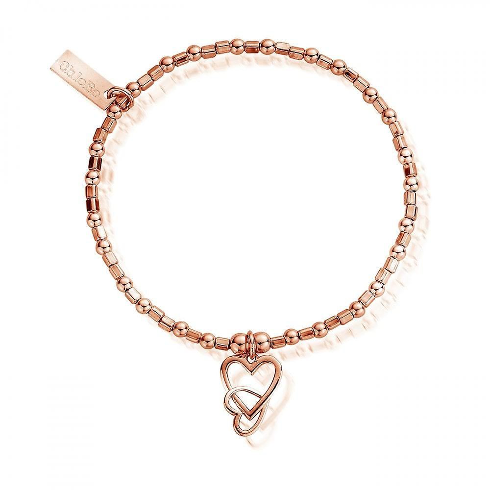 ChloBo Rose Gold Mini Cube Interlocking Love Hearts Bracelet