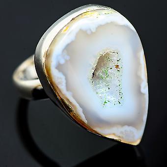 Coconut Geode Druzy Ring Maat 8 (925 Sterling Silver) - Handgemaakte Boho Vintage sieraden RING991699