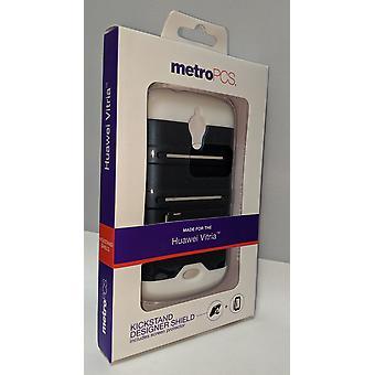 Metro PCS Kickstand Designer Case for Huawei Vitria - Navy Blue/White