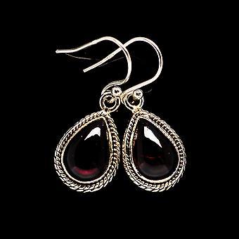 Garnet 925 Sterling Silver Earrings 1 1/4