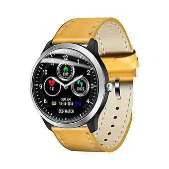 Lemfo Sports SmartWatch ECG PPG + Fitness Sport Activité Tracker Smartphone Watch iOS iPhone Android Samsung Huawei Brown Cuir