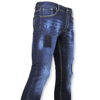 Strakke  Jeans - Biker Jeans -  Blauw