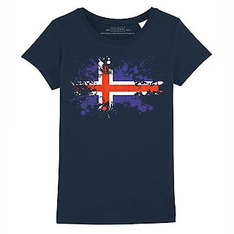 STUFF4 Girl's Round Neck T-Shirt/Iceland/Icelandic Flag Splat/Navy Blue