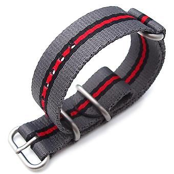 Strapcode n.a.t.o watch strap miltat 20mm, 22mm or 24mm 3 rings zulu jb military ballistic nylon armband - grey, black & red, brushed hardware