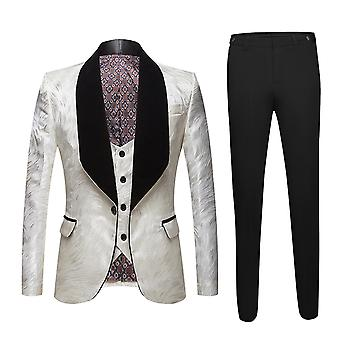 Allthemen Men's Printed Suit 1 Button Shawled Lapel Jas Vest Broek