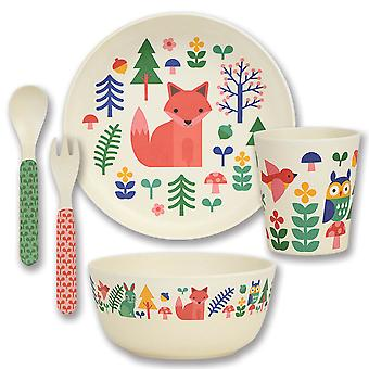 Petit Collage 5 Piece Bamboo Eco Dinnerware Set, Forest
