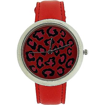 Zaza London Leopard Dial Red Leather Strap Ladies Watch LLB851