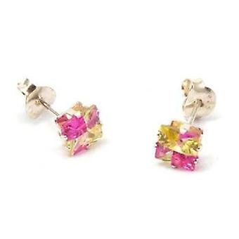 Toc Sterling Silver 5mm Princess Cut Pink and Amber Stud Earrings