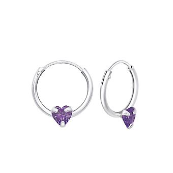 Heart - 925 Sterling Silver Ear Hoops - W23562x