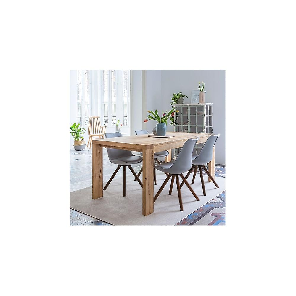 Fusion Living Eiffel Inspired Light Pink Plastic Dining Chair With Pyramid Dark Wood Legs